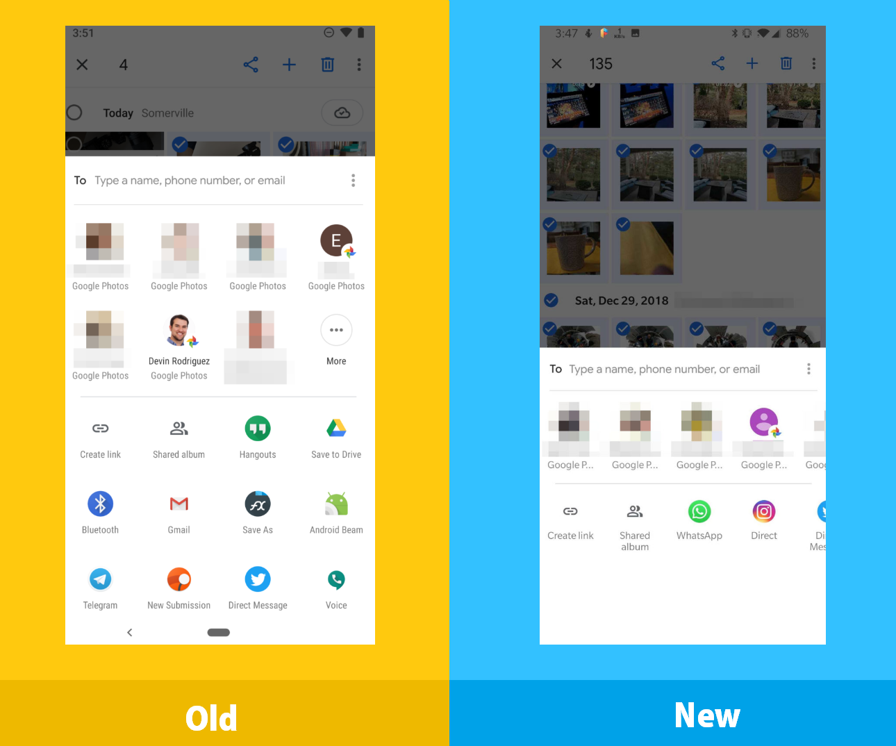 Google Photos tries on a new side-scrolling share menu for contacts and sharing menu