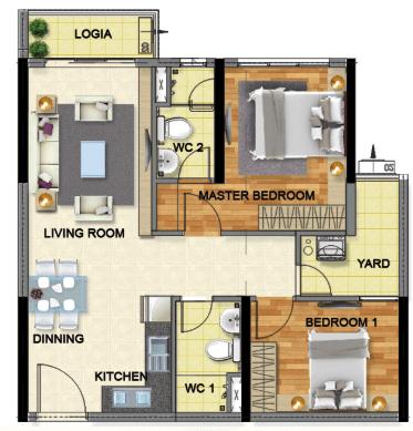 Bán căn hộ Emerald 71m², 2 phòng ngủ, giá 2,9 tỷ đồng