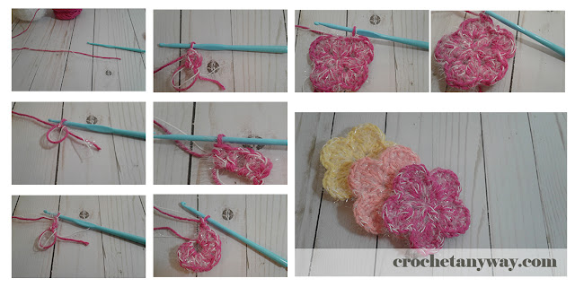 pictorial tutorial to make a flower scrubby