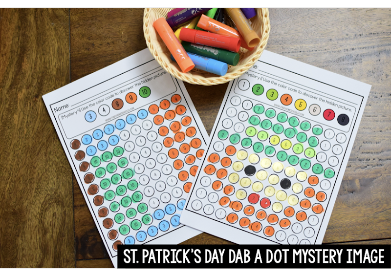 St. Patrick's Day Theme: NUMBER RECOGNITION DAB A DOT MYSTERY IMAGE