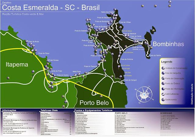 Mapa da Costa Esmeralda e Bombinhas