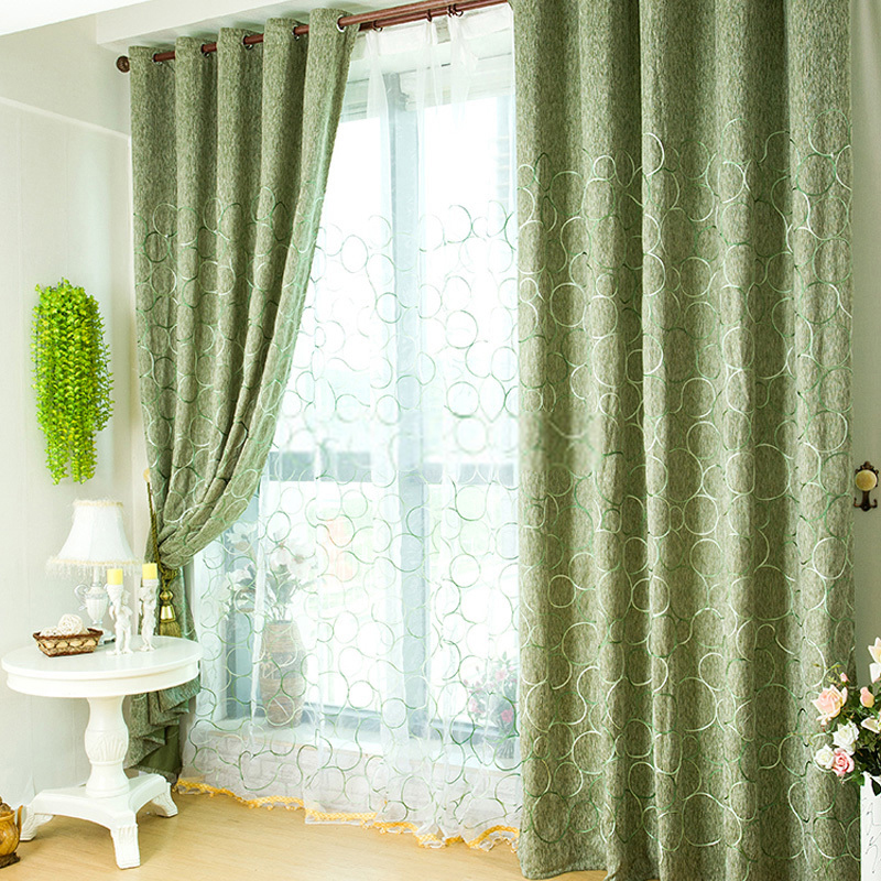 Green Color Patchwork Curtains Uk Blackout