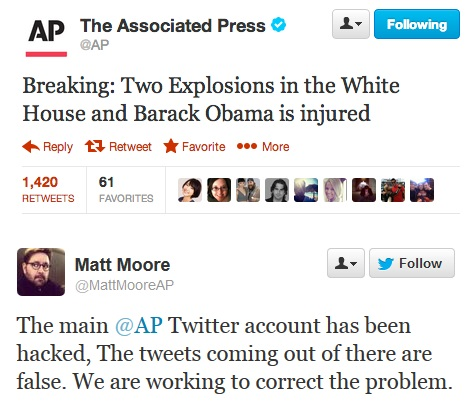 Hacked Twitter account of The Associated Press posted bogus report of attack at White House