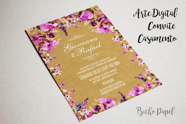 Convite Digital Rústico Casamento Floral Lilás Roxo