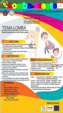 Lomba Karya Tulis Ilmiah Populer Undiksha 2019 Se-Bali