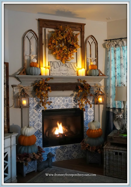 Farmhouse Cottage Fall Fireplace Mantel-Cozy Fall Decor-From My Front Porch To Yours