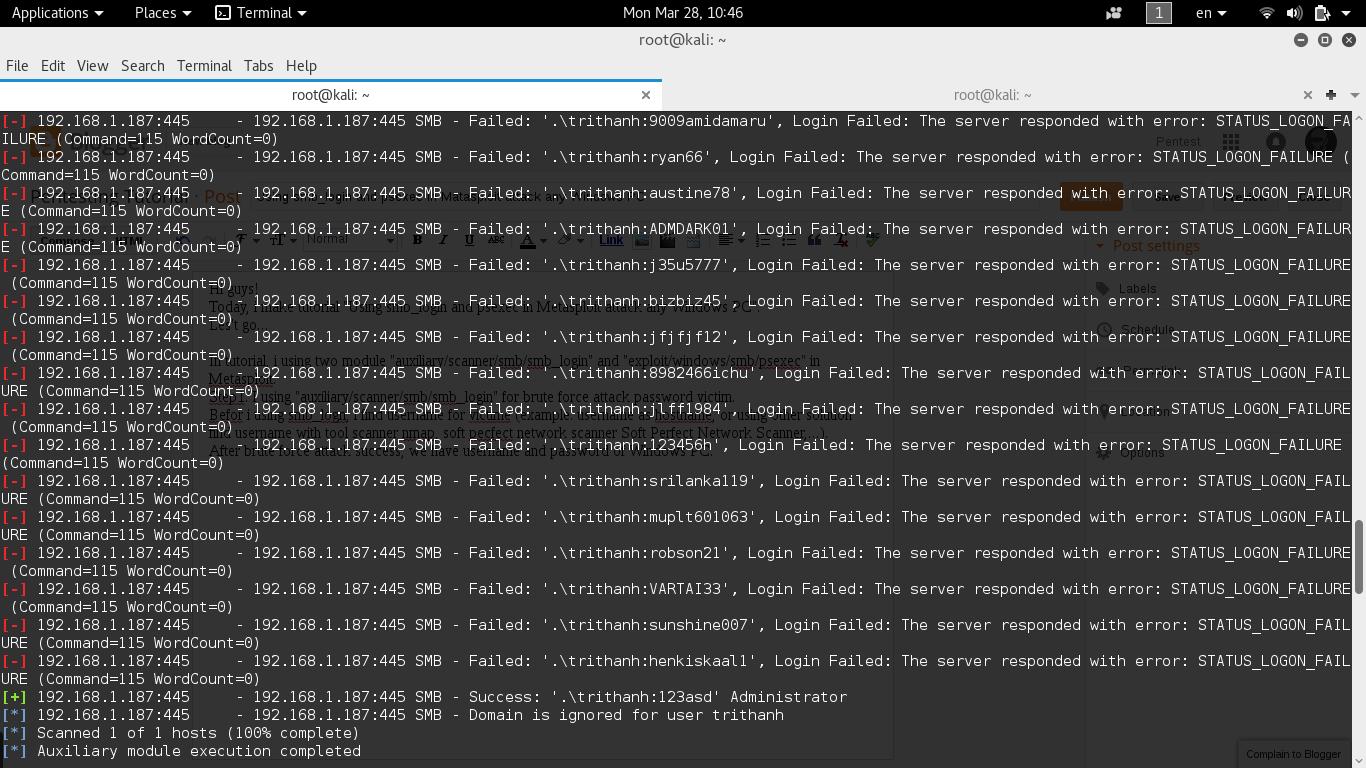 Pentesting Tutorial: Using smb_login and psexec in Matasploit attack