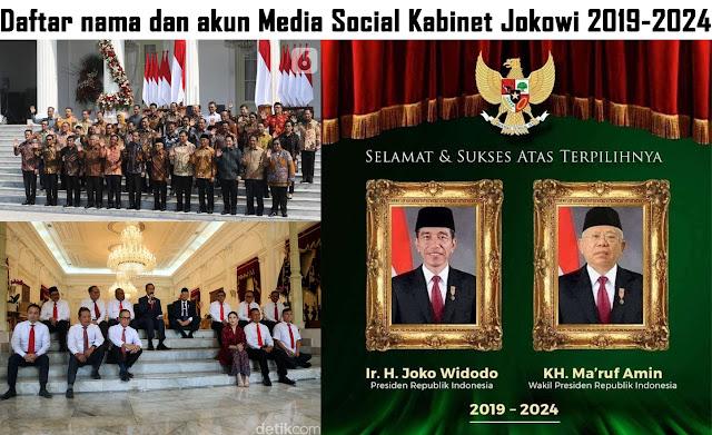Daftar nama dan akun Media Social Kabinet Jokowi 2019-2024
