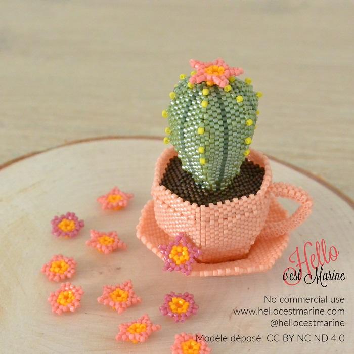 Cactus 3D en perles Miyuki delica créé et tissé par Hello c'est Marine