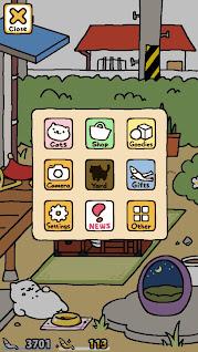 Screenshot of Neko Atsume's simple in-game menu