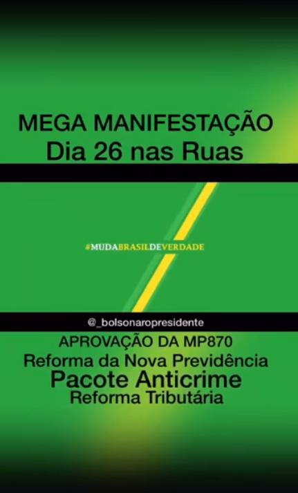 MEGA MANIFESTAÇÃO DIA 26/05/2019 (DOMINGO)  NAS RUAS DE VÁRIAS CIDADES E ESTADOS, EM BARRETOS-SP SERÁ EM FRENTE A CATEDRAL ÀS 15HS00 - PAUTA - APROVAÇÃO DAS REFORMAS  ADMINISTRATIVA (MP870), DA PREVIDÊNCIA, TRIBUTÁRIA E PACOTE ANTICRIME PACOTE