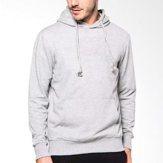 VM Hoodie Sweater Jaket Polos Pria - Abu Muda
