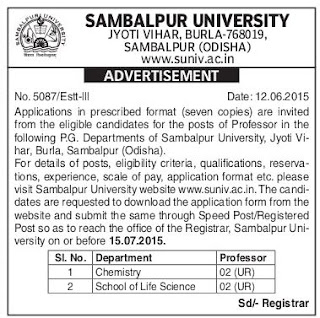 Sambalpur University Jobs (www.tngovernmentjobs.in)