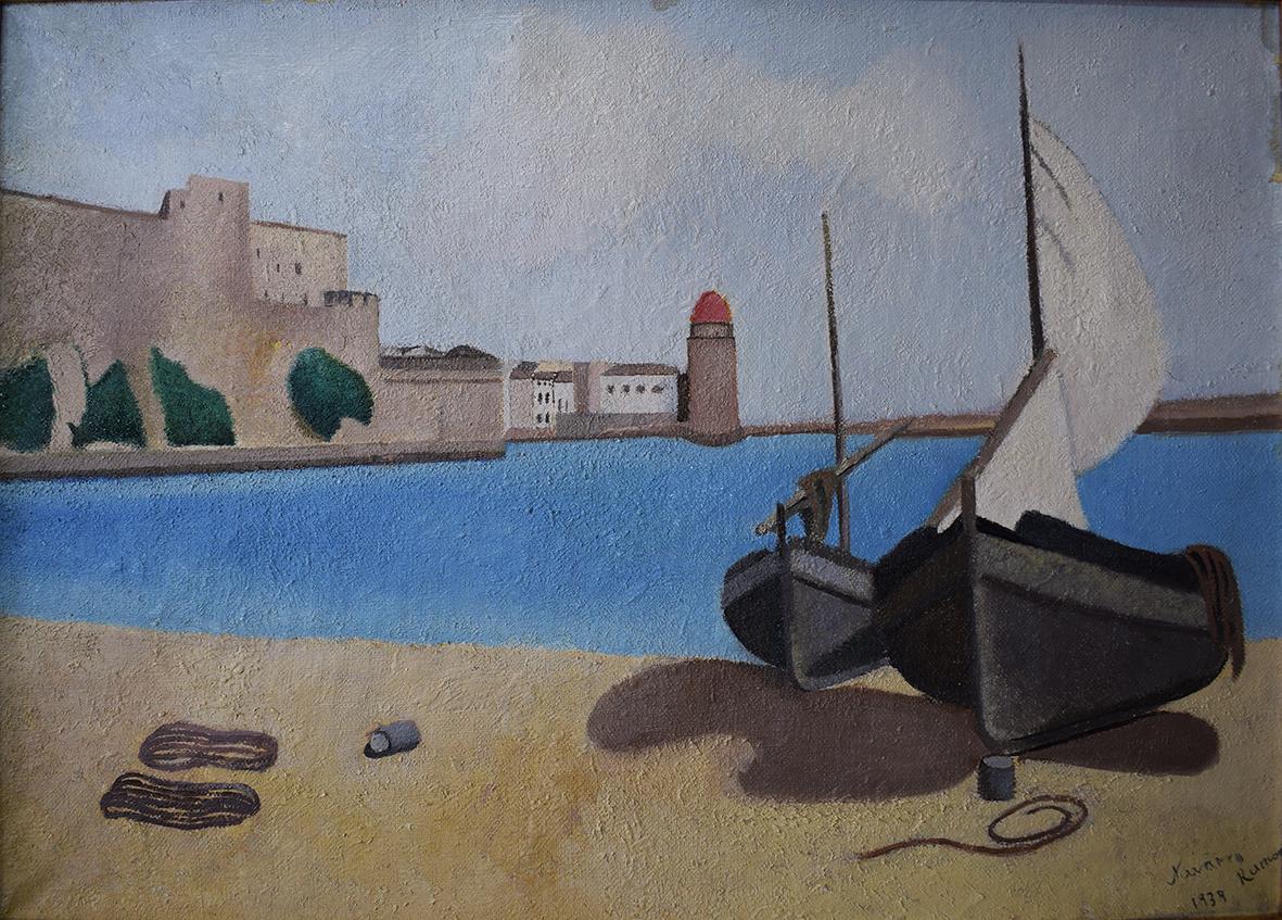 Juan Navarro Ramón paisaje Collioure mar castillo