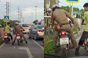 Netizens say the policeman's drunk. Police chief says he 'is sick' — Satang.info