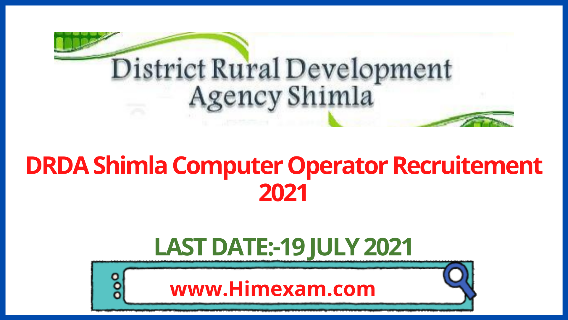 DRDA Shimla Computer Operator Recruitement 2021