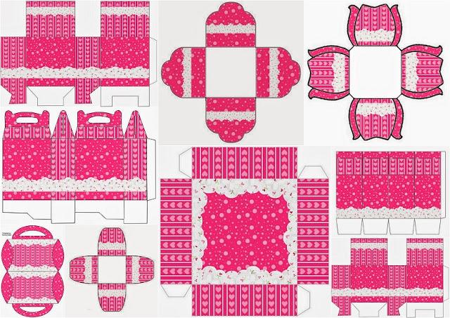 Corazones Rosa: Cajas para Imprimir Gratis.
