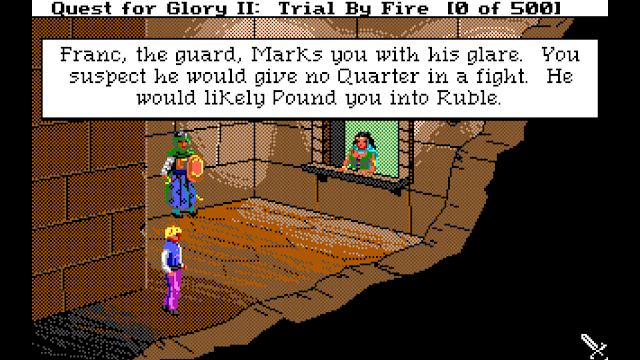 Screenshot of Quest for Glory II when you visit the money changer and look at the guard