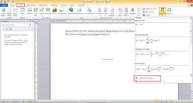 Cara Membuat Rumus Matematika di Microsoft Word 2007, 2010 dan 2013
