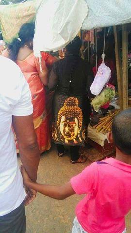 Woman Wearing A Suit With A Buddha In Trincomalee,Kanniya gossip lanka news