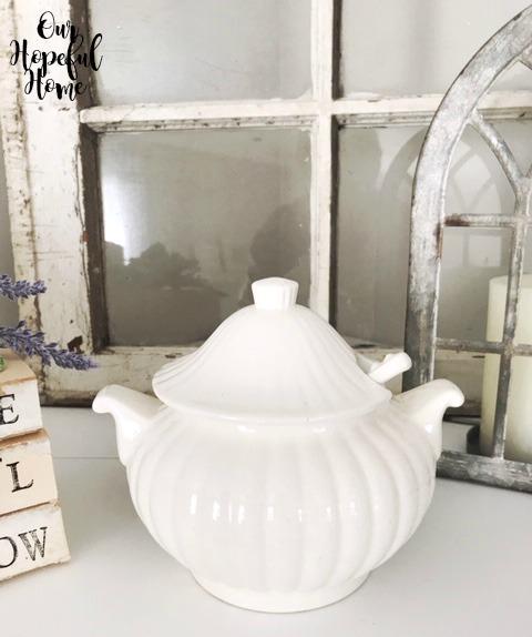 vintage white lidded ironstone soup tureen gravy boat