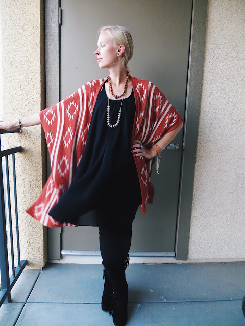 Oasap tribal poncho, 22 Stars bead necklaces, AMI Clubwear fringe boots, Song Yee Designs turquoise berry ring, casual outfit