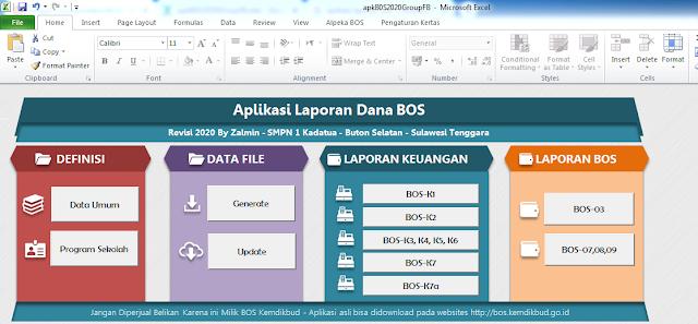Aplikasi Laporan Dana BOS Excel 2020 SD SMP SMA SMK