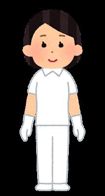 個人防護具のイラスト(白衣・女性)