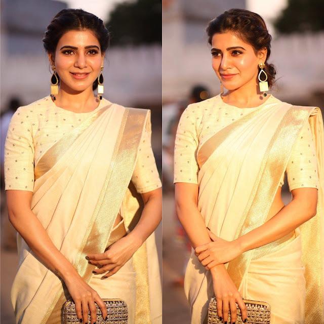 Samantha gold color saree stills