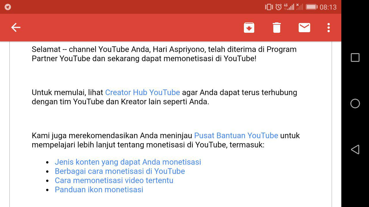 Selamat Anda Telah Disetujui Untuk Bergabung Dengan Program Partner Youtube Hari Aspriyono