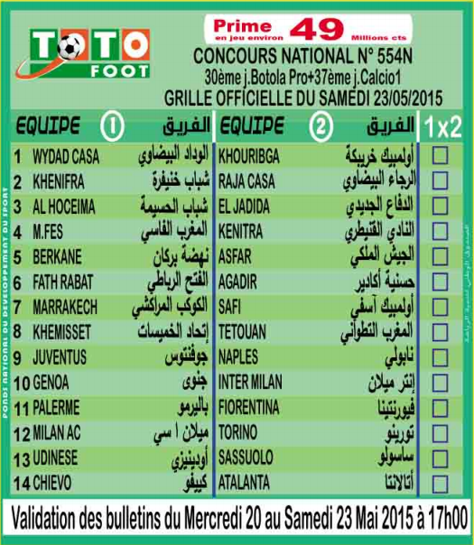 TOTO FOOT COUNCOURS NATIONAL N 554N