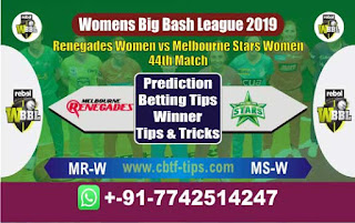 Who will win Today WBBL 2019, 44th Match Star vs Renegades, WBBL T20 2019