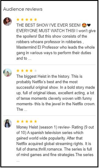 Google Money heist Review