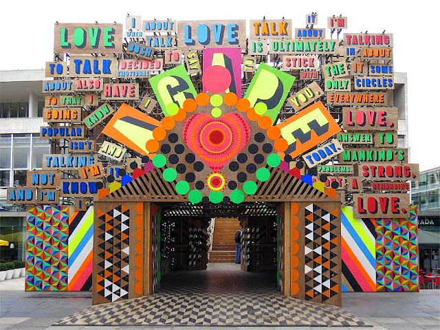 Temple of Agape by Morag Myerscough and Luke Morgan, Festival of Love, Southbank Centre, South Bank, Lambeth, London