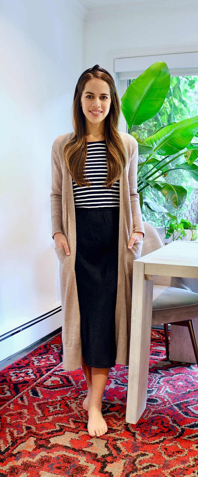 Jules in Flats - Black Midi Skirt with Striped Tee & Duster Cardigan (Easy Work from Home Outfit).jpeg