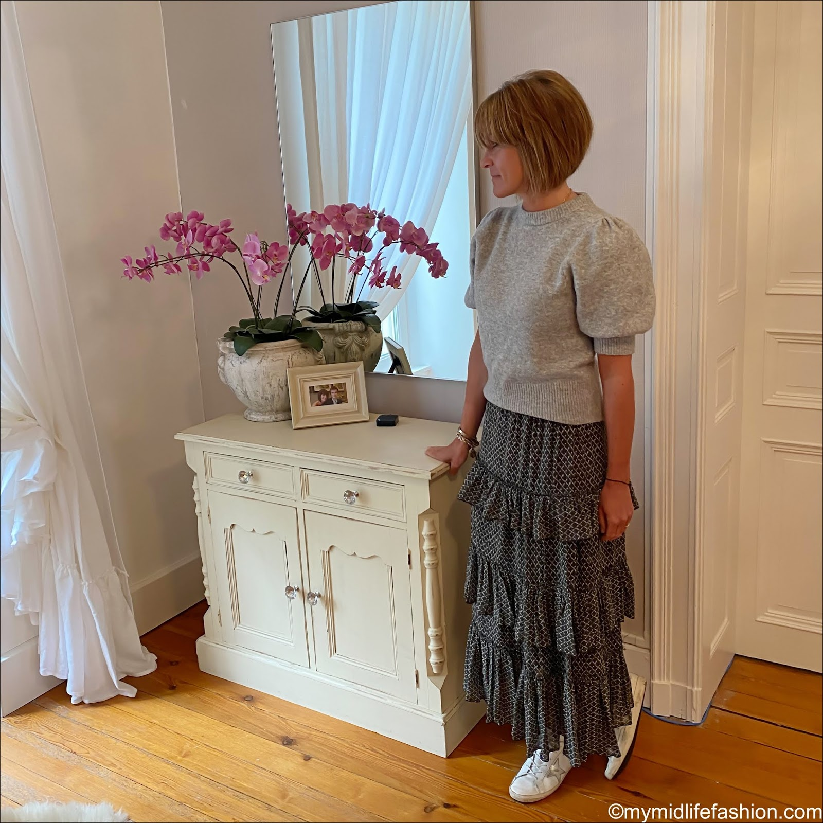 my midlife fashion, h and m puff sleeve jumper, Isabel Marant Etoile tiered maxi skirt, golden goose superstar low top leather trainers