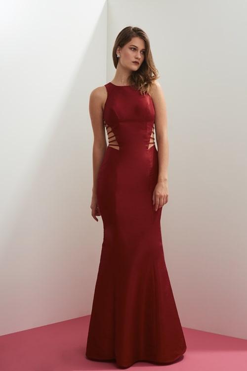 vestido longo marsala