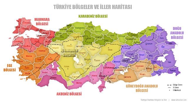 Bölge isimleri ve sınırlarıyla birlikte renkli Türkiye Bölgeler ve İller Haritası
