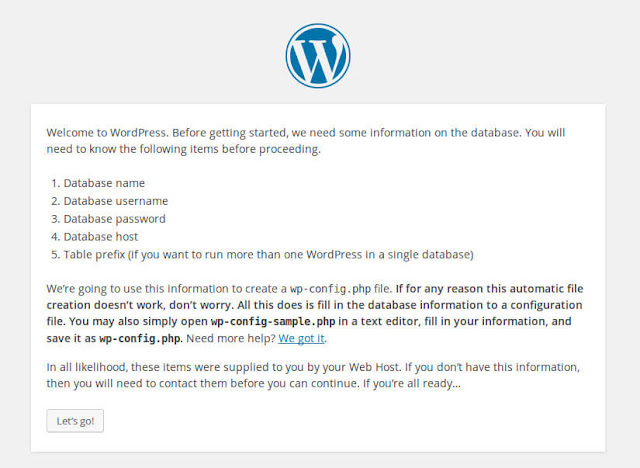 Adding database on new Wordpress installation