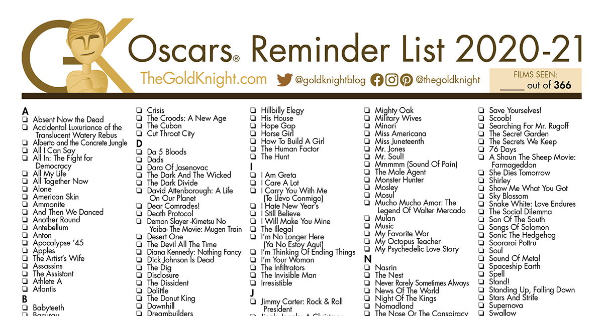 Oscars 2021: Printable Best Picture Reminder List; How ...