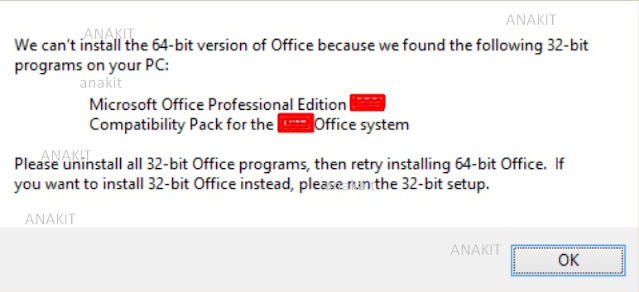 Penyebab cara mengatasi We Can't install The 32-bit Version Of Office Because We Found the Following 64-Bit Programs
