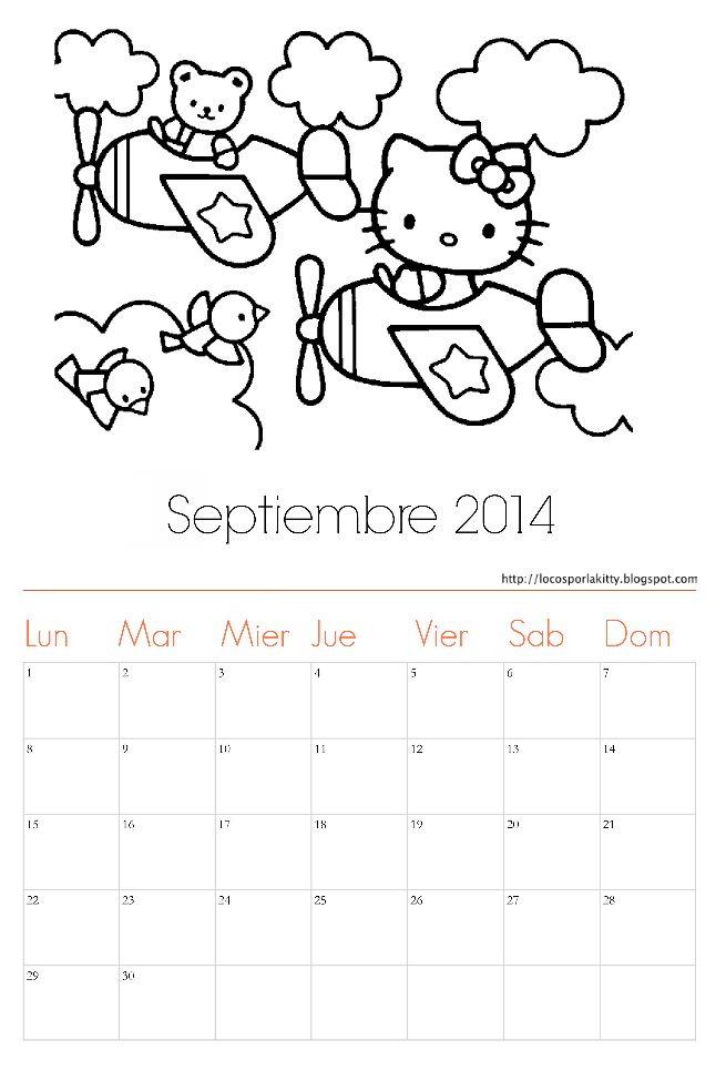 Calendario Septiembre 2014 Hello Kitty : Locos por Hello Kitty