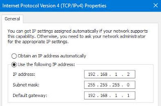 Static IP address in routersettings