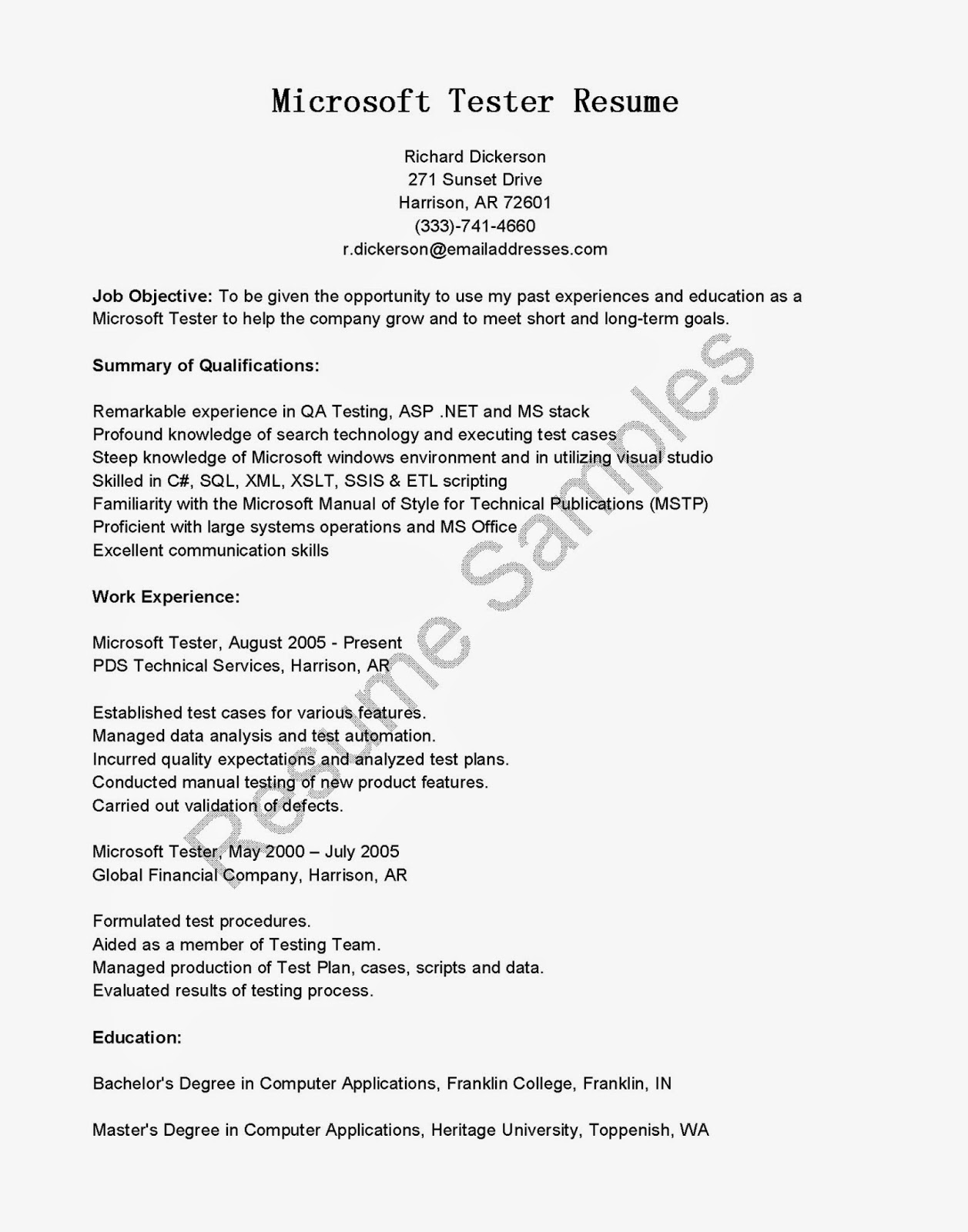manual testing resume sample for experience