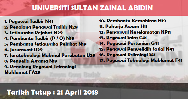 Jobs in Universiti Sultan Zainal Abidin (UniSZA) (21 April 2018)