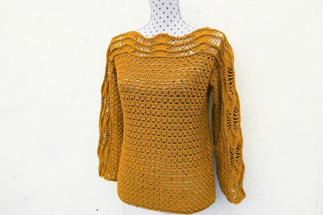 5 - Crochet Imagen Blusa verde a crochet y ganchillo muy facil sencilla paso a paso por Majovel Crochet