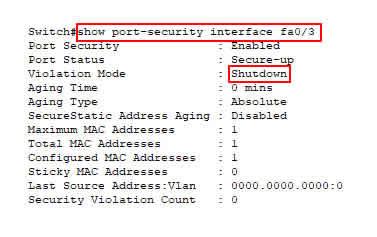 konfigurasi violation mode shutdown