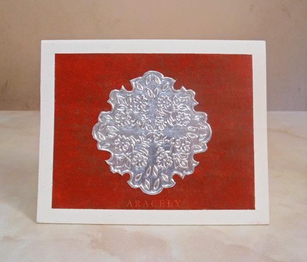 tarjeta repujado aluminio caligrafia inglesa
