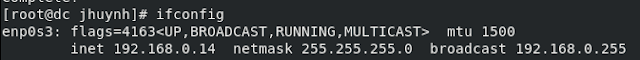 ifconfig command on terminal session