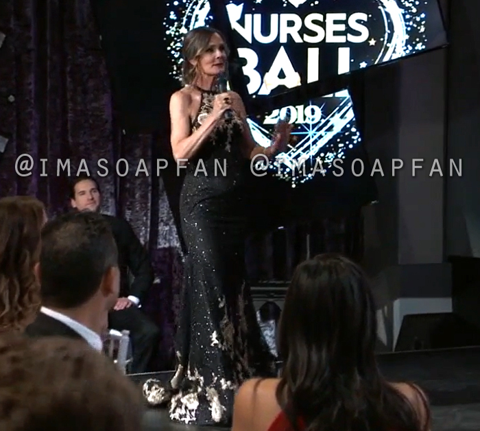 Lucy Coe, Lynn Herring, Black and Gold Floral Sequin Gown, Dress, Nurses Ball, General Hospital, GH